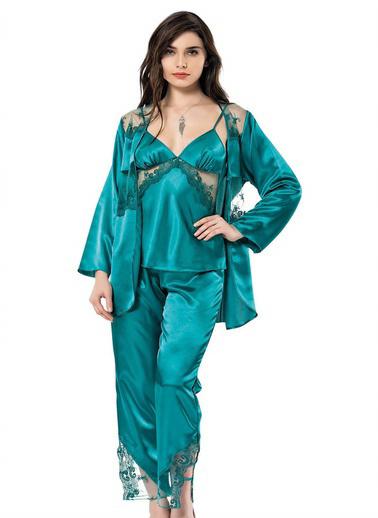 AhuLingerie Pijama Takım Yeşil